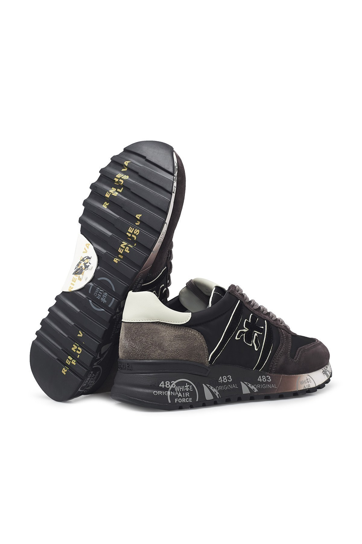 Premiata Baskılı Kalın Taban Deri Erkek Ayakkabı LANDER 4951 ANTRASİT