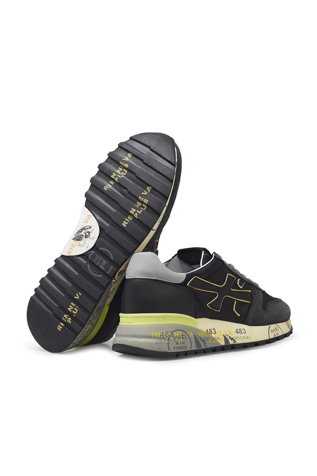 Premiata Baskılı Kalın Taban Deri Erkek Ayakkabı MICK 4059 ANTRASİT
