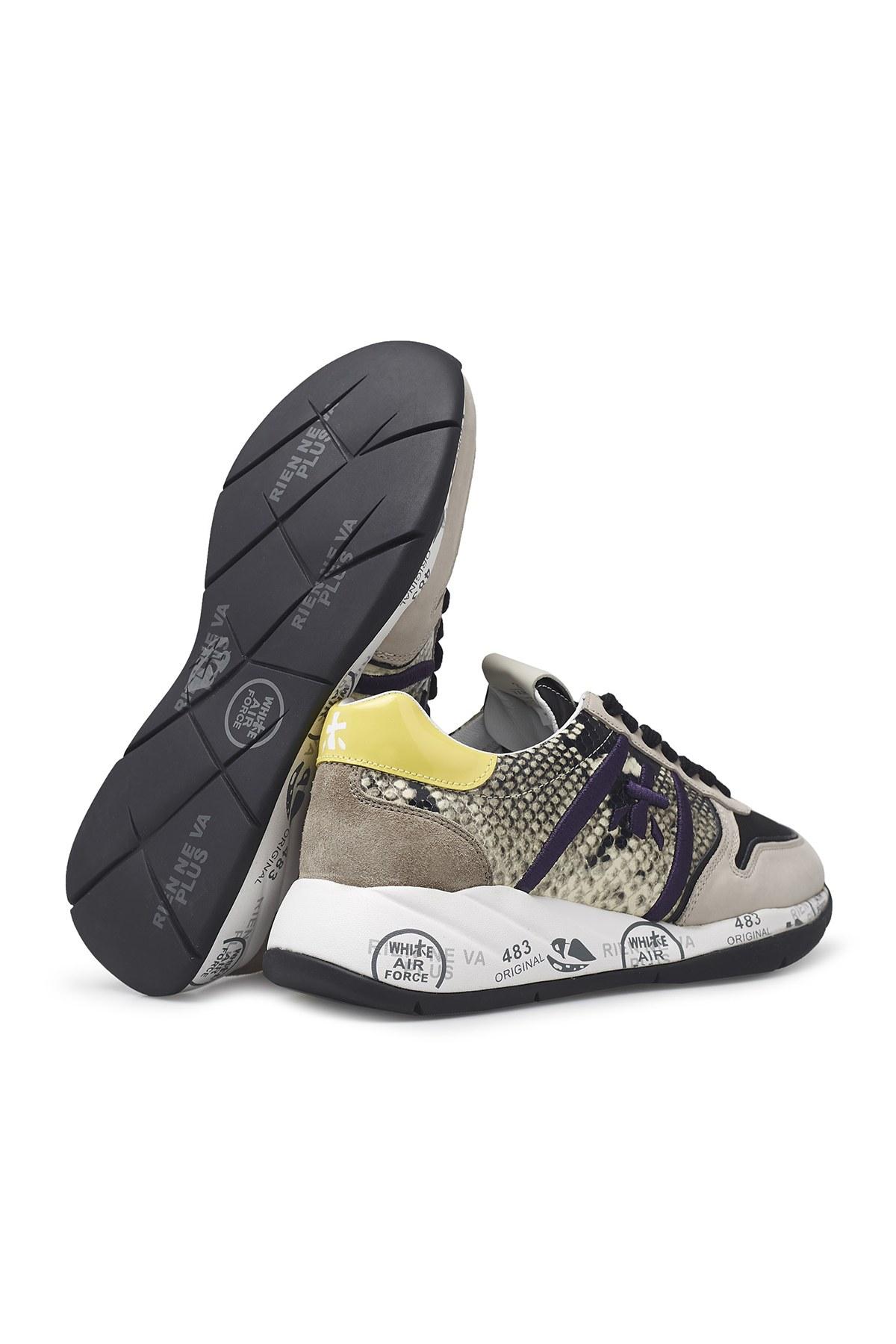 Premiata Baskılı Kalın Taban Deri Bayan Ayakkabı LAYLA 4855 BEJ