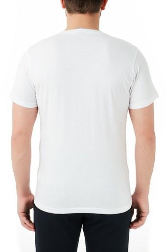 Ruck & Maul % 100 Pamuklu Baskılı Bisiklet Yaka Erkek T Shirt RMM03000707 BEYAZ