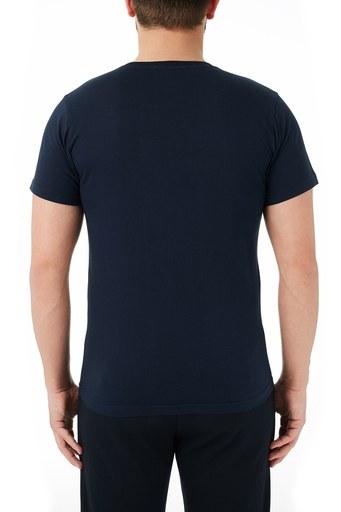 Ruck & Maul % 100 Pamuklu Baskılı Bisiklet Yaka Erkek T Shirt RMM03000707 LACİVERT