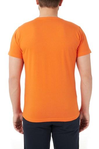 Ruck & Maul % 100 Pamuklu Baskılı Bisiklet Yaka Erkek T Shirt RMM03000707 TURUNCU