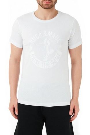 Ruck & Maul - Ruck & Maul % 100 Pamuklu Bisiklet Yaka Erkek T Shirt RMM03000723 BEYAZ