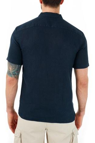 Ruck & Maul - Ruck & Maul Düz Yaka Kısa Kollu Keten Erkek Gömlek RMM02000703 LACİVERT (1)