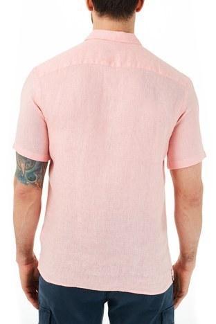 Ruck & Maul - Ruck & Maul Düz Yaka Kısa Kollu Keten Erkek Gömlek RMM02000703 PEMBE (1)