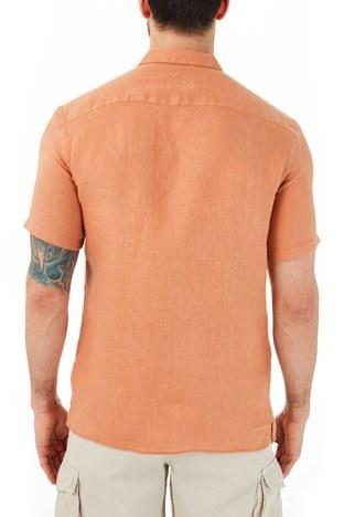 Ruck & Maul - Ruck & Maul Düz Yaka Kısa Kollu Keten Erkek Gömlek RMM02000703 TARÇİN (1)