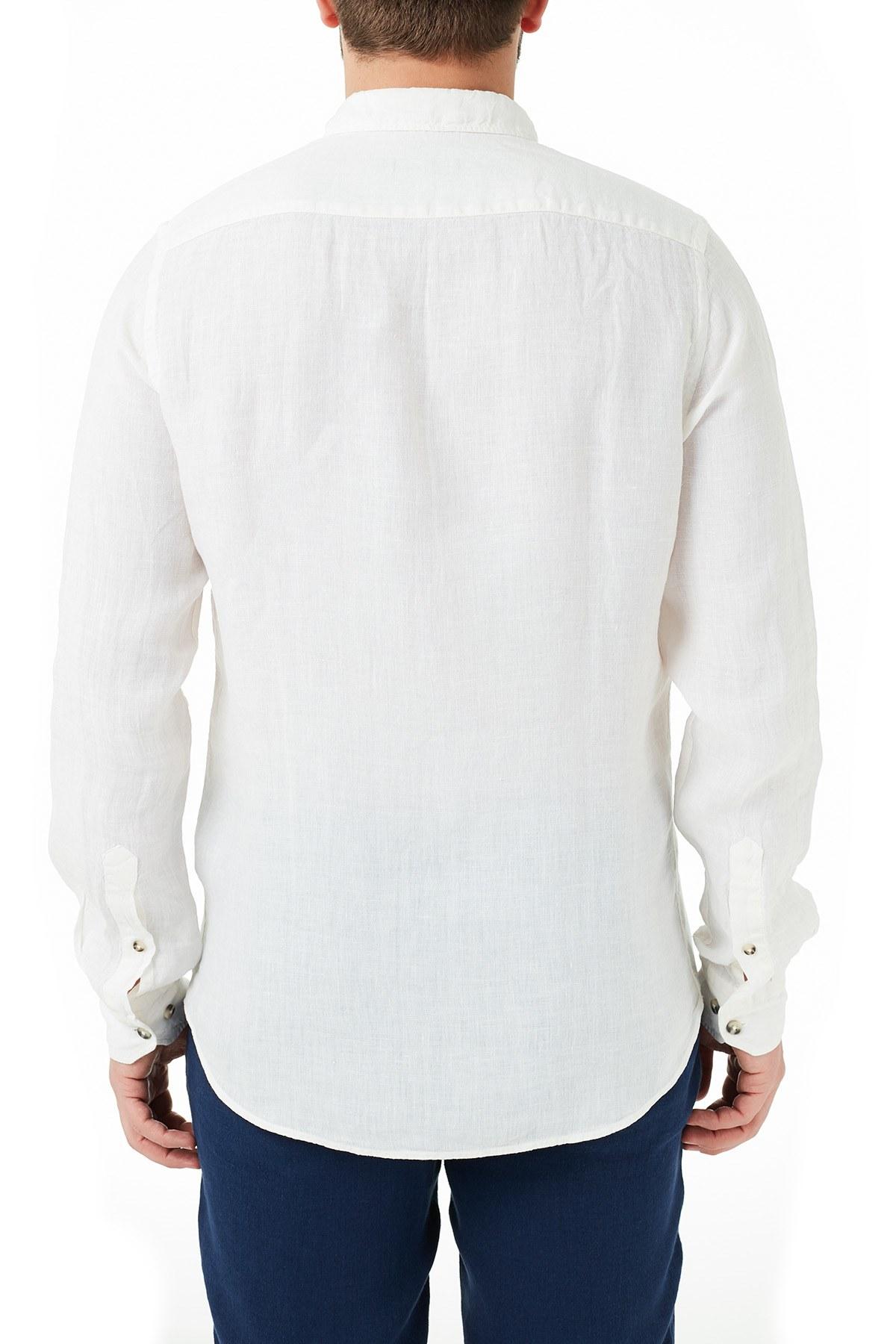 Ruck & Maul Düz Yaka Keten Erkek Gömlek S20M0220Y1201 BEYAZ
