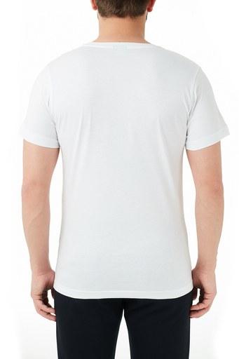 Ruck & Maul Pamuklu Baskılı Bisiklet Yaka Erkek T Shirt RMM03000715 BEYAZ