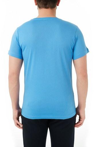 Ruck & Maul Pamuklu Baskılı Bisiklet Yaka Erkek T Shirt RMM03000715 MAVİ