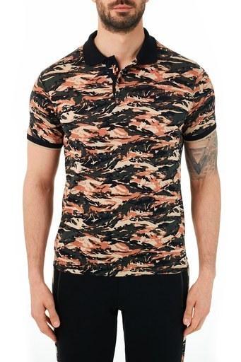 Ruck & Maul Pamuklu Kamuflaj Desenli Düğmeli T Shirt Erkek Polo RMM01000712 KAMUFLAJ-HAKI