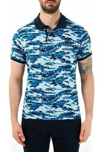 Ruck & Maul Pamuklu Kamuflaj Desenli Düğmeli T Shirt Erkek Polo RMM01000712 KAMUFLAJ LACİVERT