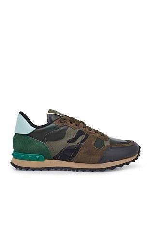 Valentino - Valentino Deri Sneaker Erkek Ayakkabı S0723 TCC K22 HAKİ-YEŞİL