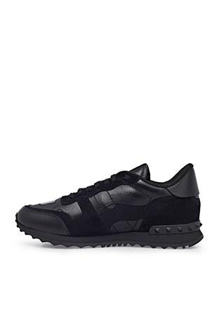 Valentino - Valentino Hakiki Deri Sneaker Erkek Ayakkabı S0723 NSD 0NO SİYAH (1)
