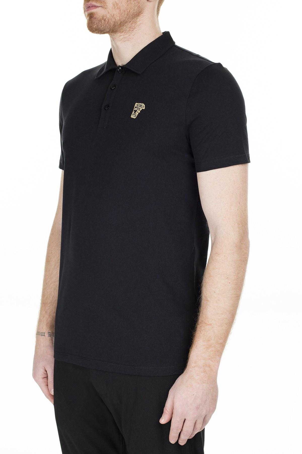 Versace Collection T Shirt Erkek Polo V800708 VJ00180 V9001 SİYAH
