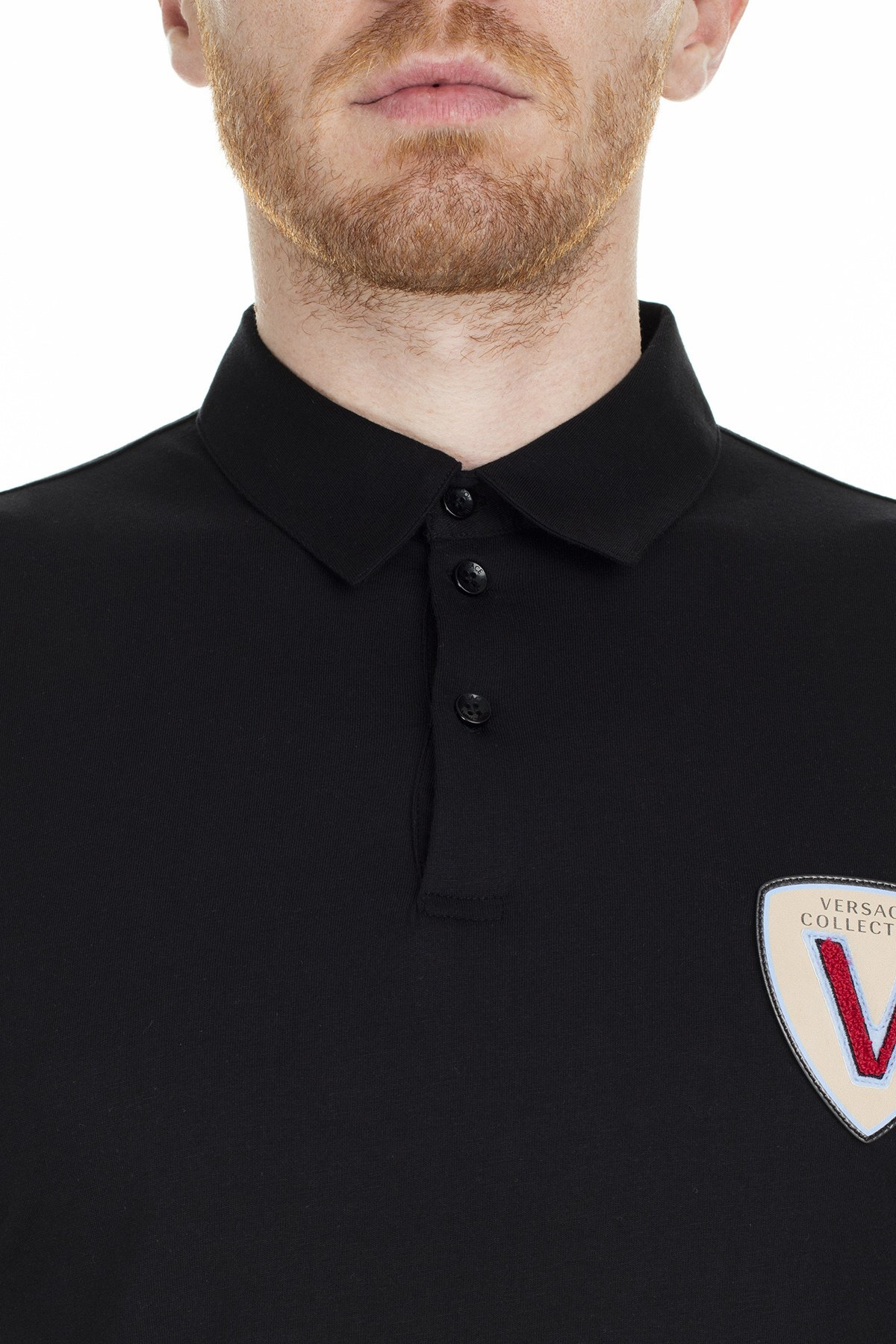 Versace Collection T Shirt Erkek Polo V800708D VJ00180 V1008 SİYAH