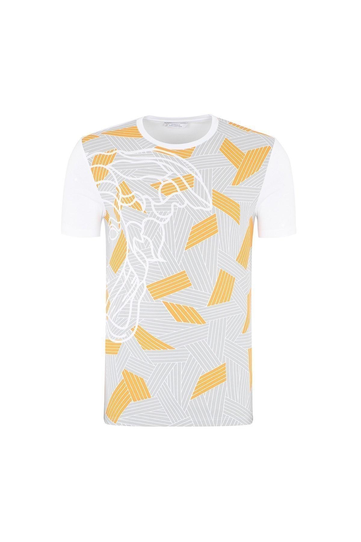 VERSACE COLLECTION T SHIRT Erkek T Shirt V800683S VJ00496 V1001 BEYAZ