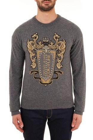 Versace Jeans Couture - Versace Jeans Couture Baskılı Yünlü Bisiklet Yaka Erkek Sweat B5GZB810 50478 810 GRİ
