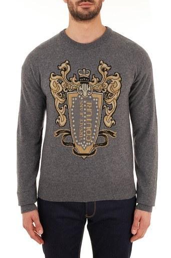 Versace Jeans Couture Baskılı Yünlü Bisiklet Yaka Erkek Sweat B5GZB810 50478 810 GRİ