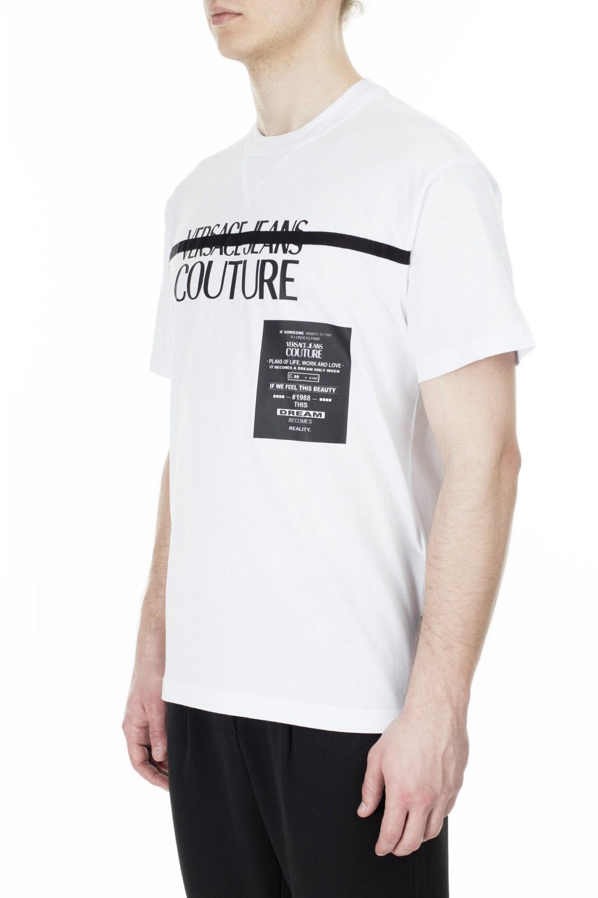 Versace Jeans Couture Regular Fit Erkek T Shirt B3GVB7TF 30319 003 BEYAZ