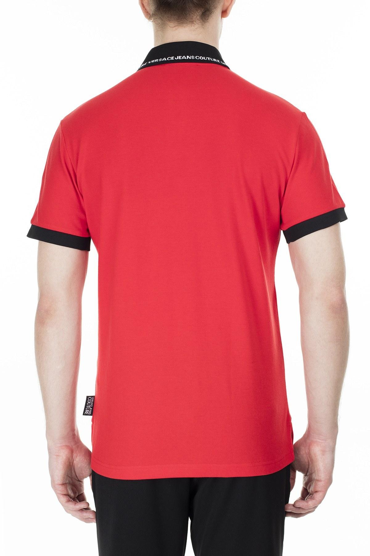 Versace Jeans Couture Regular Fit T Shirt Erkek Polo B3GVB7P5 36571 537 KIRMIZI