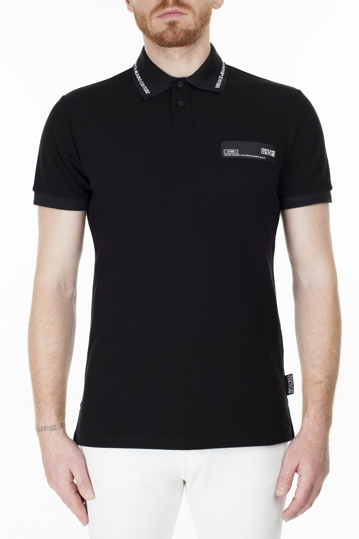 Versace Jeans Couture Regular Fit T Shirt Erkek Polo B3GVB7P5 36571 899 SİYAH