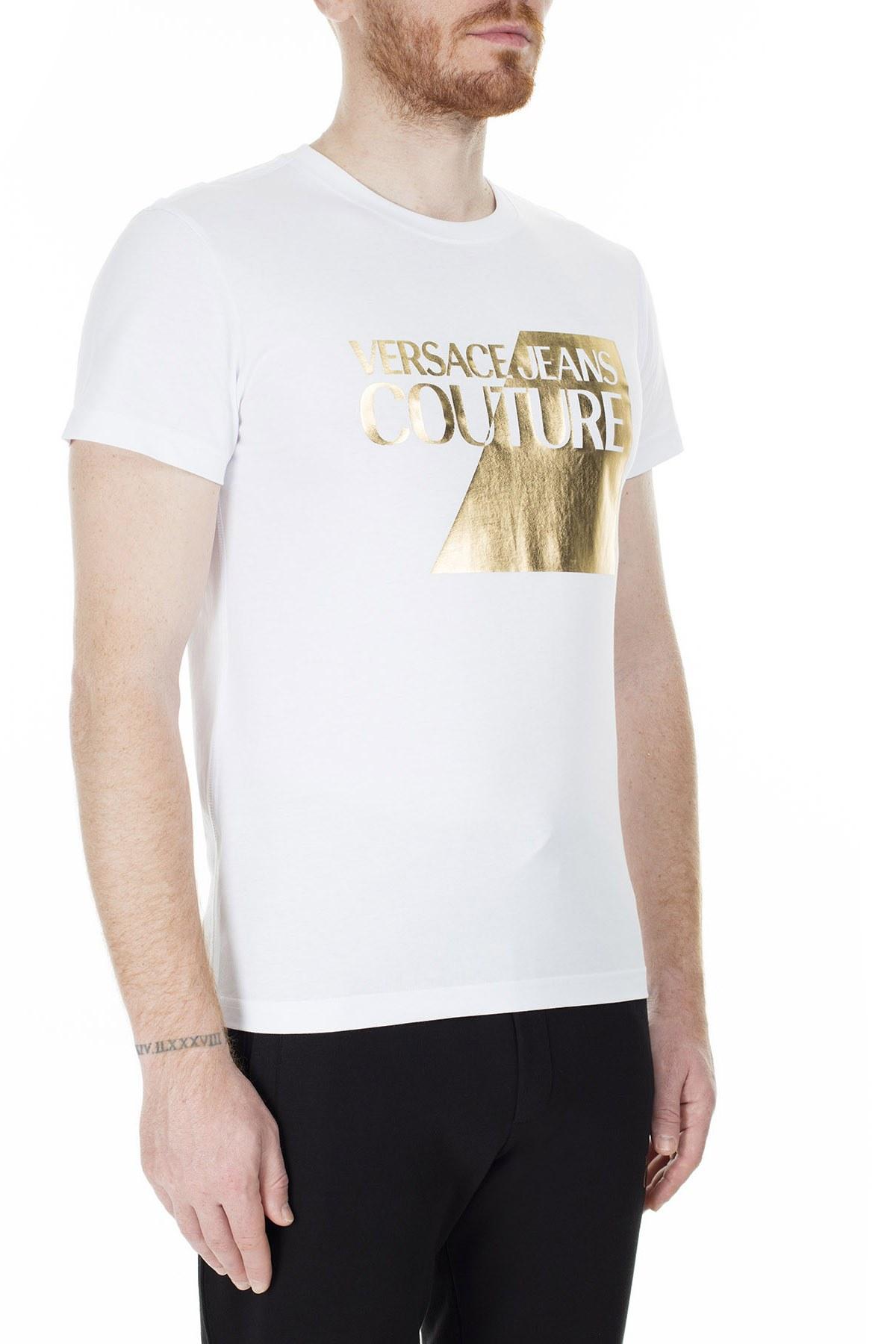 Versace Jeans Couture Slim Fit Erkek T Shirt B3GVB7TP 30319003 BEYAZ